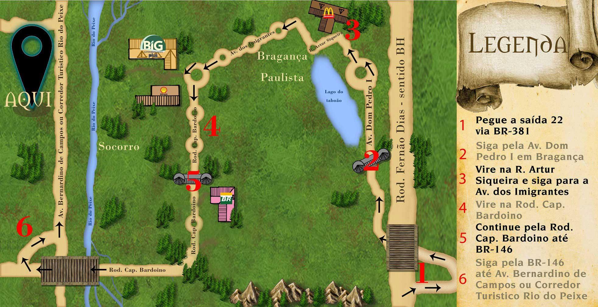 Mapa do local do Jantar Medieval - 8º Aniversário Ordo Draconis Belli